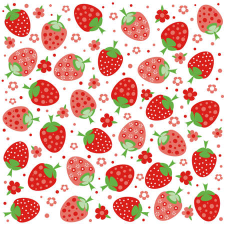 kiddie: Seamless pattern with ornament of red strawberries and flowers on white background. Vector illustration