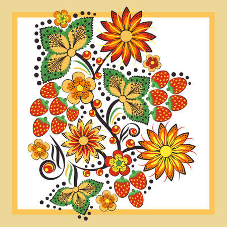Template with Khokhloma floral ornament. Print for handkerchiefs and shawls. Vector illustration