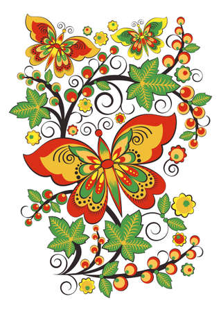 Floral ornament with butterflies and grapes in Khokhloma style in traditional colors isolated on white background. Russian folklore. Vector illustration Illustration
