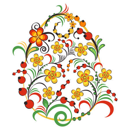 Floral ornament with flowers and berries in shape of egg in Khokhloma style in traditional colors isolated on white background. Russian folklore. Vector illustration