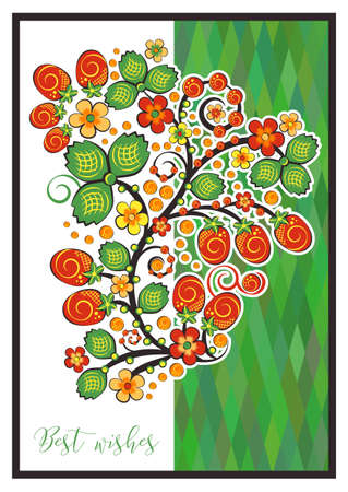 Greeting card with Khokhloma floral ornament. Postcard for Womens Day, Mothers Day.