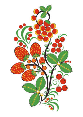 Floral ornament with flowers, strawberries and rowan in Khokhloma style in traditional colors.
