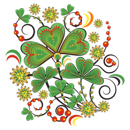 Floral ornament with flowers and leaves of shamrock in Khokhloma style in traditional. Illustration