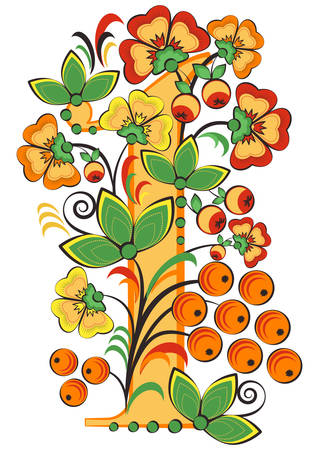 Floral ornament with flowers, apples and berries in shape of number 1 in Khokhloma. Illustration