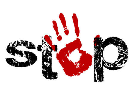 Sign stop as stamp with open hand icon in red and black colors in grunge style.