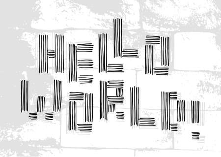 Salutatory card with stylized caption Hello World in grunge style on pale brick masonry background. Vector illustration.