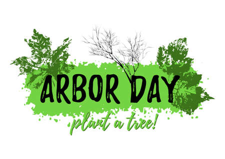 Abstract grunge banner from paint splash with prints of leaves in green colors isolated on white. Plant tree in Arbor day. Vector illustration Illustration