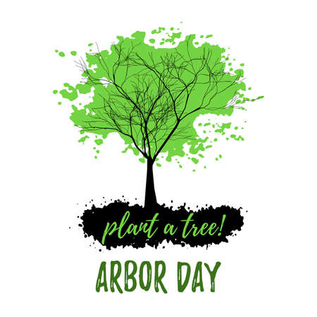 Abstract tree with green foliage in grunge style isolated on white background. Plant tree in Arbor day. Vector illustration Illustration