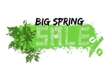 Grunge sale poster with green spring splash, prints of maple leaves and stylized captions on white background. Vector illustration