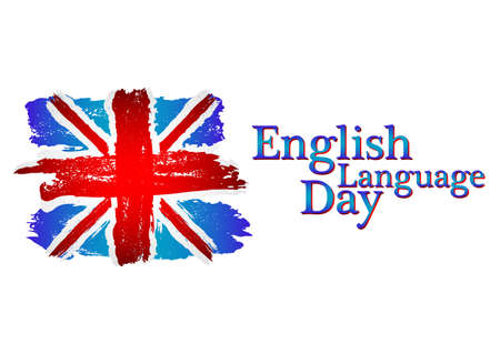 English language day card with flag of Britain from brush strokes in grunge style isolated on white background. Vector illustration Illustration
