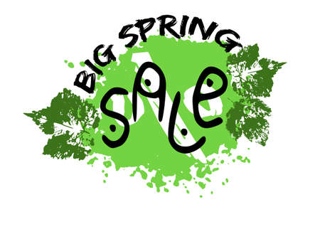 Grunge sale poster with green spring splash, prints of leaves and stylized captions on white background. Vector illustration Illustration