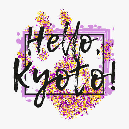 Print with lettering about Kyoto and violet yellow glitter in shape of hand with frame on grey background. Pattern for fabric textiles, clothing, shirts, banners. Vector illustration Illustration