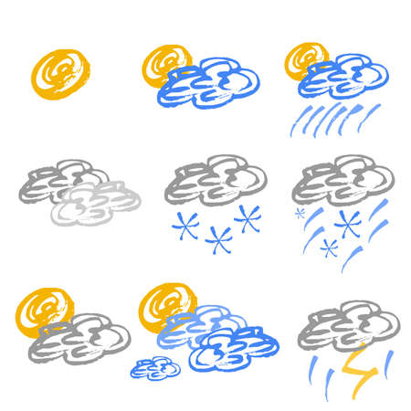 temp: Set of colored weather icons in hand drawn technique and grunge style isolated on white. Vector illustration