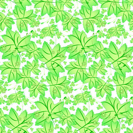 Seamless spring pattern with maple leaves in tints of bright green color. Vector illustration