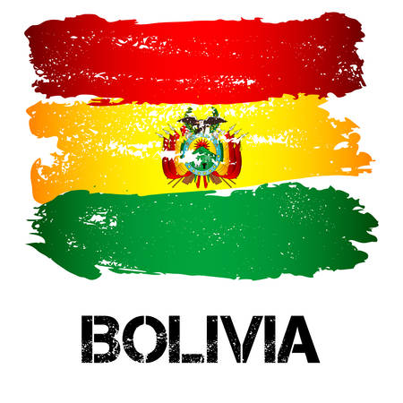 Flag of Bolivia from brush strokes in grunge style isolated on white background. Country in South America. Latin America. Vector illustration
