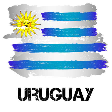 Flag of Uruguay from brush strokes in grunge style isolated on white background. Country in South America. Latin America. Vector illustration