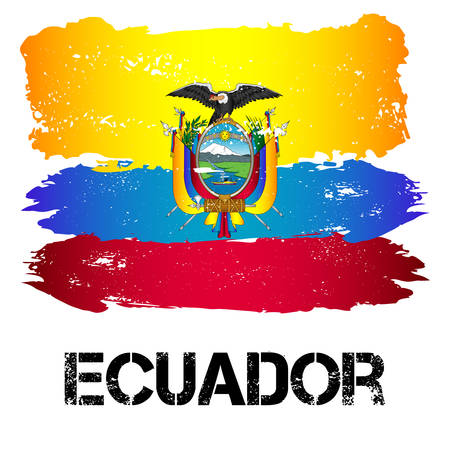 Flag of Ecuador from brush strokes in grunge style isolated on white background. Country in South America. Latin America. Vector illustration