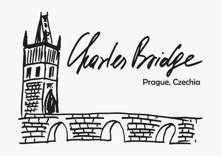 Hand drawn sketch of Charles bridge as one of symbol of Prague in Czech republic. Vector illustration Ilustração