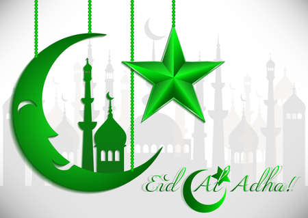 Card with green moon and star on white for greeting with Islamic holidays Ramadan, Eid al-Fitr, Eid al-Adha. Vector illustration