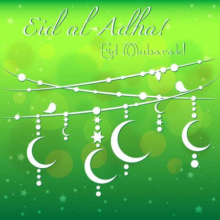 Card with garland on green background for greetings with Islamic Feast of Sacrifice Eid al-Adha, as well with Ramadan and Eid al-Fitr. Vector illustration Ilustração