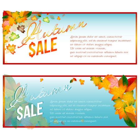 Autumn sale banners with foliage from falling leaves and percents of discounts inside on gradient blue white background. Vector illustration