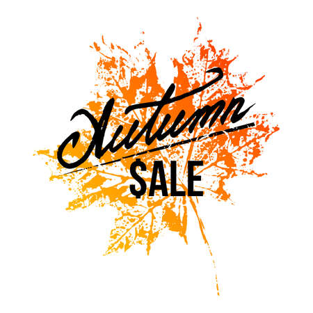 Autumn sale hand written lettering with natural imprint of yellow orange maple leaf on white background. Vector illustration