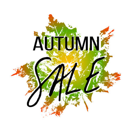 Autumn sale hand written lettering with natural imprint of green orange maple leaf on white background. Vector illustration