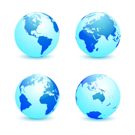 Realistic blue Earth globe in four turns on white background. North and South America, Eurasia and Africa, Atlantic, Australia in rotations. Vector illustration