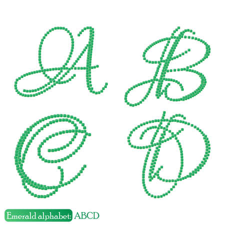 asscher cut: Jewelry alphabet with vintage capital letters from precious stone Emerald in realistic shapes in green color with silver edging. ABCD characters. Vector illustration