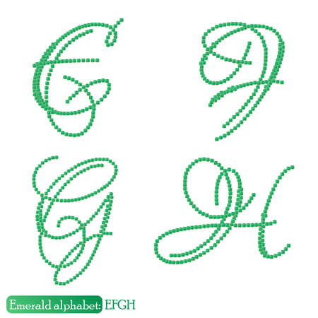 asscher cut: Jewelry alphabet with vintage capital letters from precious stone Emerald in realistic shapes in green color with silver edging. EFGH characters. Vector illustration
