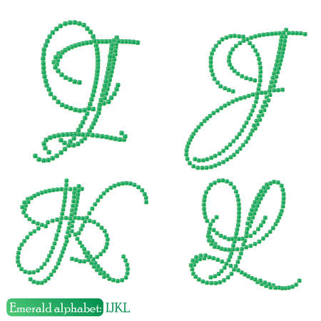 asscher cut: Jewelry alphabet with vintage capital letters from precious stone Emerald in realistic shapes in green color with silver edging. IJKL characters. Vector illustration