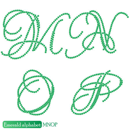 asscher cut: Jewelry alphabet with vintage capital letters from precious stone Emerald in realistic shapes in green color with silver edging. MNOP characters. Vector illustration