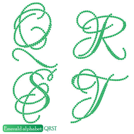 asscher cut: Jewelry alphabet with vintage capital letters from precious stone Emerald in realistic shapes in green color with silver edging. QRST characters. Vector illustration