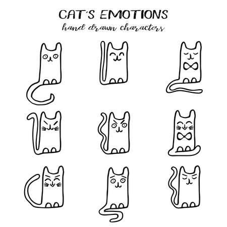 Van de de emotiesinzameling van de kat ter beschikking getrokken beeldverhaaltechniek en grunge stijl die op wit wordt geïsoleerd. Vector illustratie