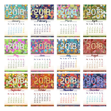 Calendar design with grid for 2018 year and colorful abstract kaleidoscope background with eastern ornament and all month. Vector illustration Illusztráció