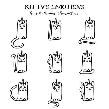 Kittycat emotions collection in hand drawn cartoon technique and grunge style isolated on white. Vector illustration