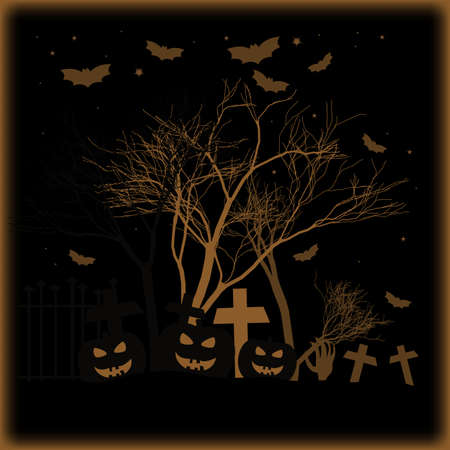 Holiday poster for Halloween with three pumpkins and bats on cemetery with crosses in starry night on black background in style of engraving. Trick or treat vector illustration