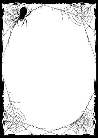 Glückliches Halloween-Plakat mit schwarzem Rahmen vom Spinnennetz in den Ecken auf weißem Hintergrund. Süßes oder Saures. Vektor-Illustration Vektorgrafik