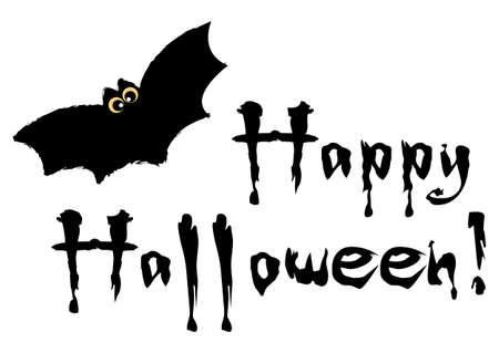 Happy Halloween grunge lettering with black bat on white background. Trick or treat. Vector illustration