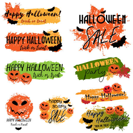 Happy Halloween grunge banners with lettering and brush drawn elements and prints on white background. Trick or treat. Vector illustration