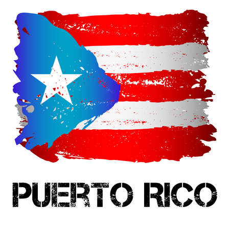 Flag of Puerto Rico from brush strokes in grunge style isolated on white background. Latin America. Unincorporated territory of USA in Caribbean Sea. Vector illustration Ilustrace