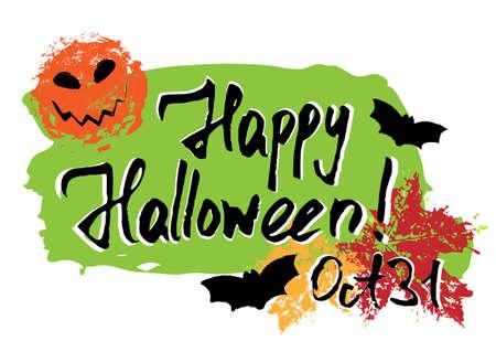 Happy Halloween greeting card with grunge hand written lettering. Ilustração