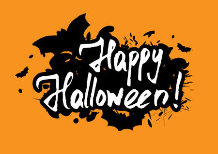 Happy Halloween greeting card with grunge hand written lettering and brush drawn splashes on orange background