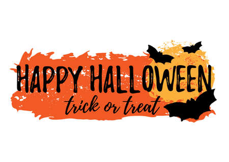Happy Halloween greeting card with grunge hand written lettering and brush stroke on white background