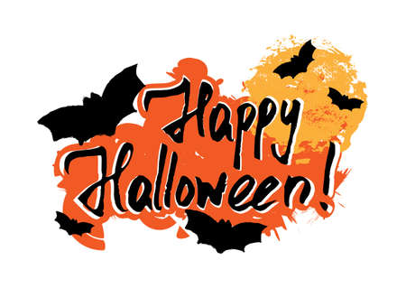Happy Halloween greeting card with grunge hand written lettering and paint smear on white background. Trick or treat. Vector illustration