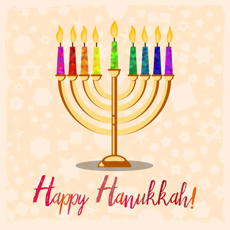 Postcard for greetings with Festival of Lights, Feast of Dedication Hanukkah. Menorah with colorful candles on pale background with pattern. Vector illustration
