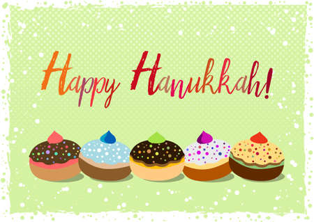 Postcard for greetings with Festival of Lights, Feast of Dedication Hanukkah. Grunge hand written greeting with jewish sufganiots on green halftone background with snow. Vector illustration