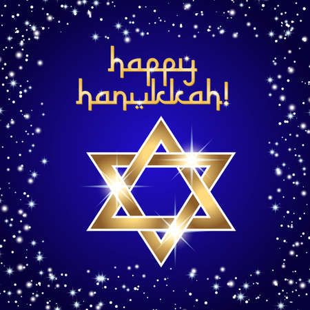 Postcard for Festival of Lights, Feast of Dedication Hanukkah. Golden shining star of David on deep blue background with frame from stars and sparkles. Vector illustration