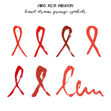Set of red AIDS ribbons from brush strokes in different colors and strokes on white background. World AIDS day in December 1st. Vector illustration