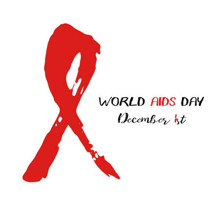 Shape of red AIDS ribbon from brush strokes on white background. World AIDS day in December 1st. Vector illustration